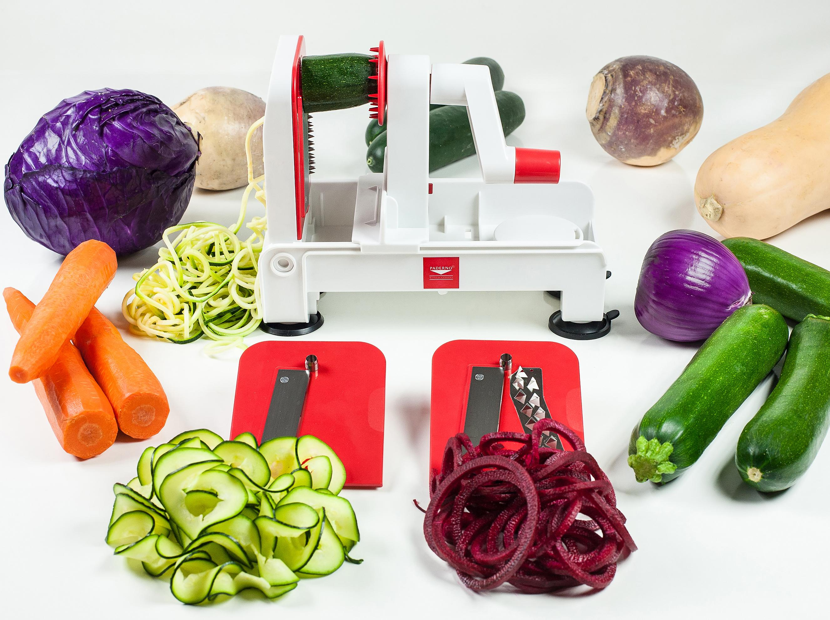 Paderno world cuisine a4982802 folding tri blade - Paderno world cuisine tri blade spiral vegetable slicer ...